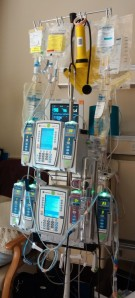 Deb's IV pole -- her constant companion for the past few weeks