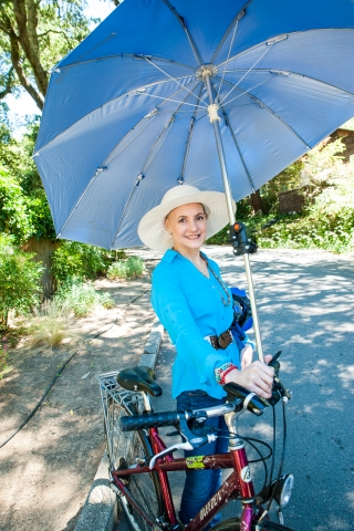 Deb Hubsmith w Umbrella Bike_6-27-14