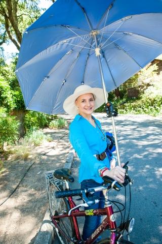 Deb Hubsmith w Umbrella Bike_6-27-14